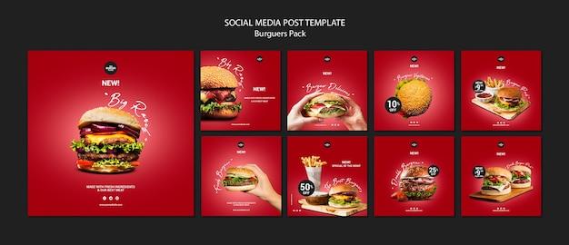 Modello di post di instagram per ristorante di hamburger