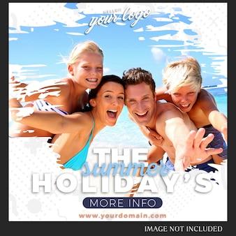 Modello di instagram per viaggi, vacanze, estate, concetto di stile di vita