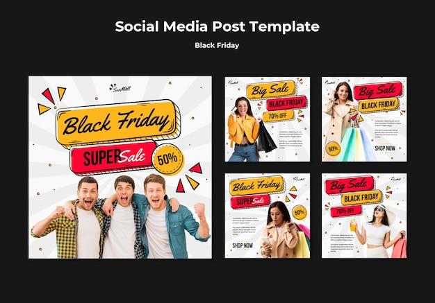 Raccolta di post di instagram per la vendita del venerdì nero
