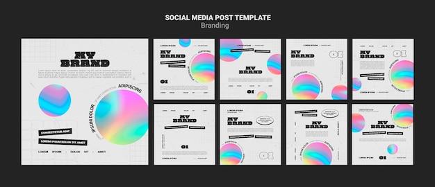 Raccolta di post di instagram per il marchio aziendale con forma circolare colorata