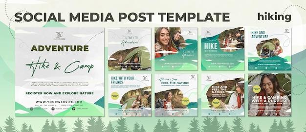 Raccolta di post su instagram per escursioni nella natura