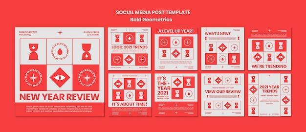 Raccolta di post di instagram per la revisione e le tendenze del nuovo anno