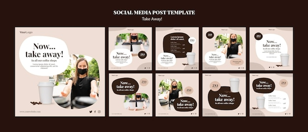 Raccolta di post di instagram per caffè da asporto Psd Premium