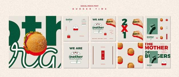 Pacchetto di post di instagram per ristorante di hamburger