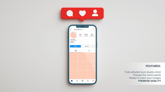 Mockup del profilo instagram in un telefono su uno sfondo neutro con notifiche app in rendering 3d