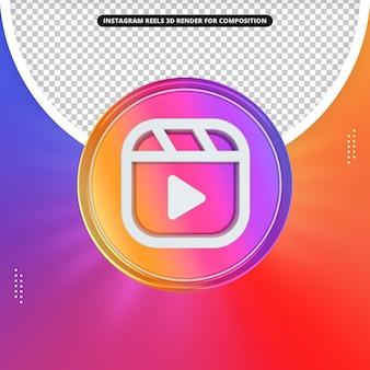 Icona di bobine di instagram 3d rendering anteriore per la composizione