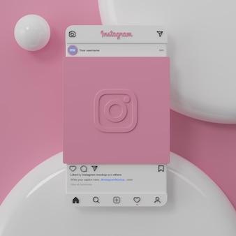 Interfaccia di mockup dei social media di instagram e rendering 3d di presentazione dell'app ui ux