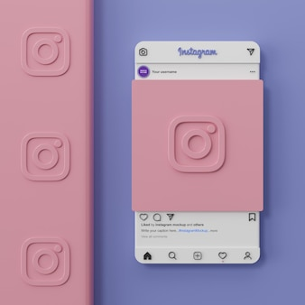 Interfaccia mockup di social media di instagram e presentazione dell'app ui ux