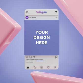 Il mockup dei social media di instagram e la presentazione dell'app ui ux 3d rendono