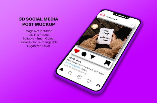 Mockup di post sui social media di instagram con smartphone in stile 3d