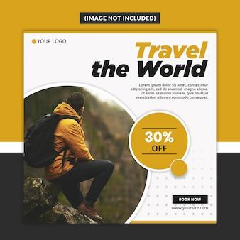 Modello di posta quadrata di instagram con tema viaggi e vacanze