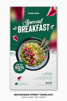 Modello di banner di storie di instagram per il menu del cibo del ristorante