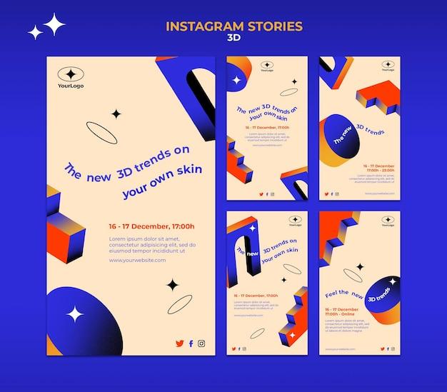 Raccolta di storie di instagram per tendenze 3d Psd Premium