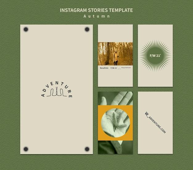 Raccolta di storie di instagram per l'avventura autunnale nella foresta