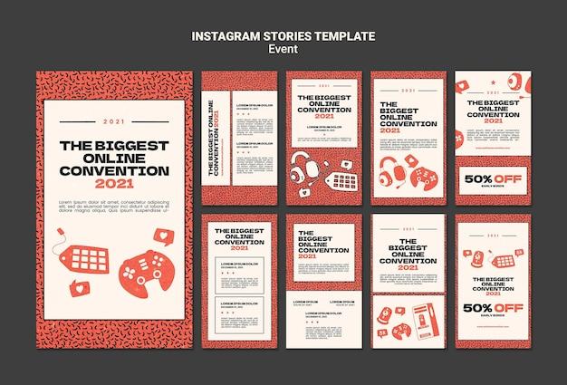 Raccolta di storie di instagram per la più grande convezione online del 2021