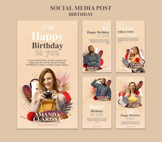 Raccolta di storie di instagram per la celebrazione dell'anniversario di compleanno