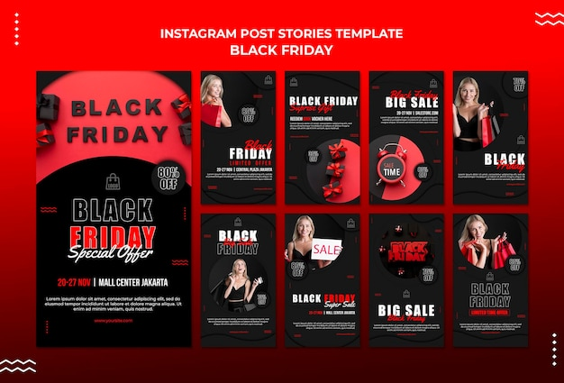 Raccolta di storie di instagram per la vendita del venerdì nero