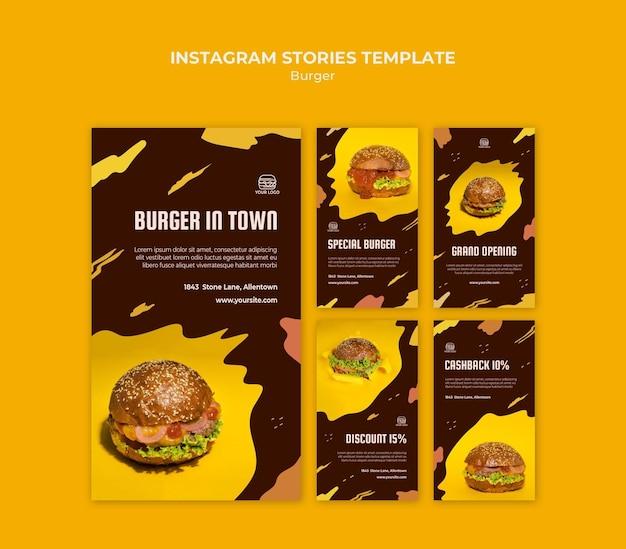 Raccolta di storie di instagram per ristorante di hamburger