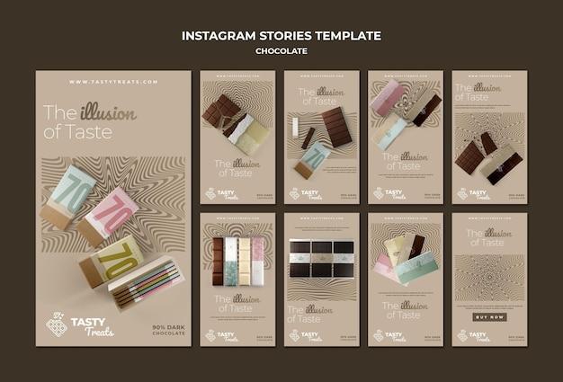 Raccolta di storie di instagram per il cioccolato
