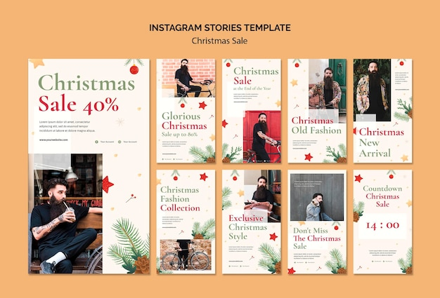 Raccolta di storie di instagram per la vendita di natale