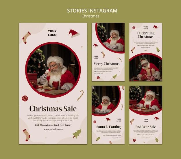 Raccolta di storie di instagram per la vendita dello shopping natalizio