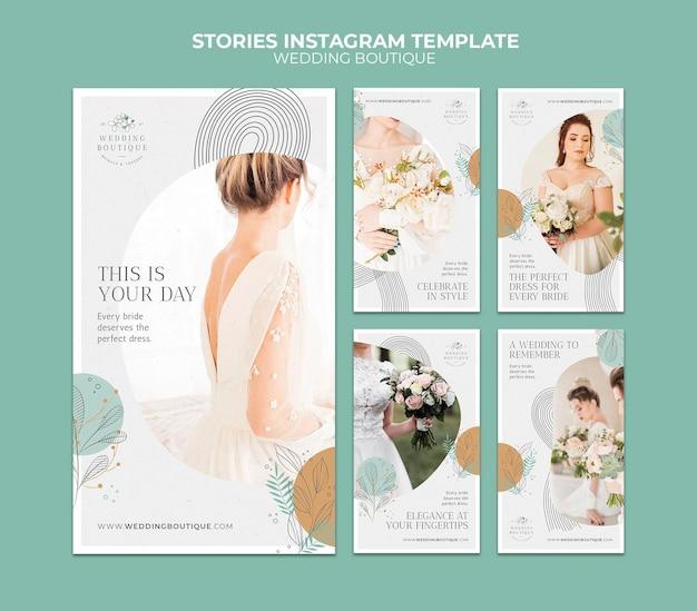 Raccolta di storie su instagram per un'elegante boutique per matrimoni