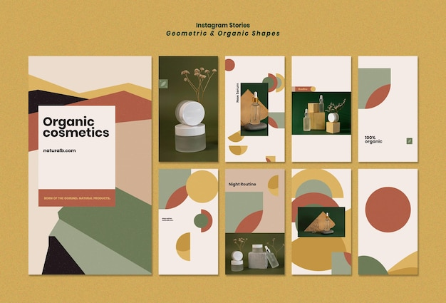 Raccolta di storie instagram per podio di bottiglie di olio essenziale con forme geometriche Psd Premium