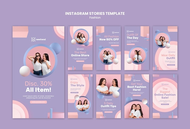 Raccolta di storie di instagram per negozi al dettaglio di moda