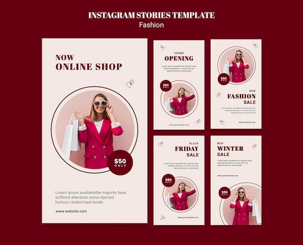 Raccolta di storie di instagram per la vendita di moda con donna e borse della spesa