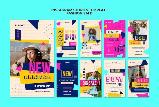 Raccolta di storie di instagram per la vendita di moda