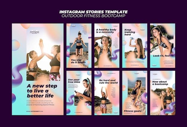 Raccolta di storie di instagram per il fitness all'aperto