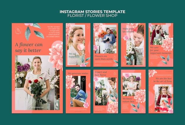 Raccolta di storie di instagram per attività di negozio di fiori