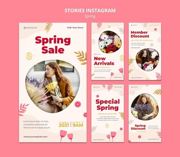 Raccolta di storie instagram per negozio di fiori con fiori primaverili