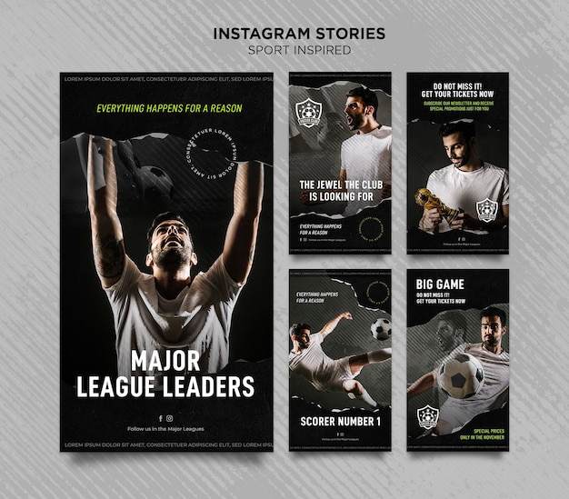 Raccolta di storie di instagram per la squadra di calcio