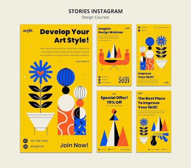 Raccolta di storie di instagram per lezioni di graphic design