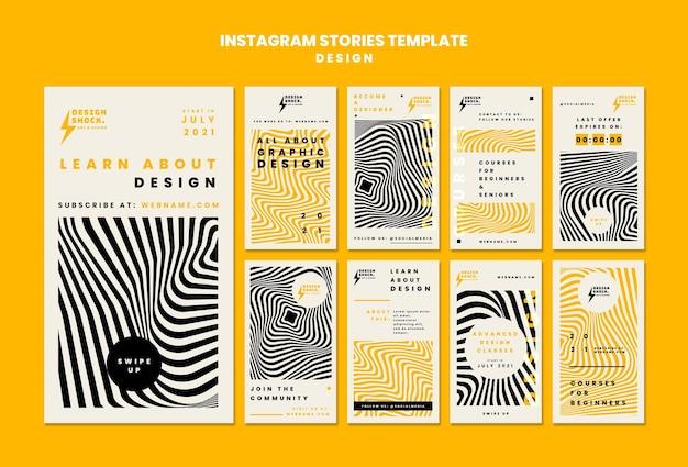 Raccolta di storie instagram per corsi di graphic design