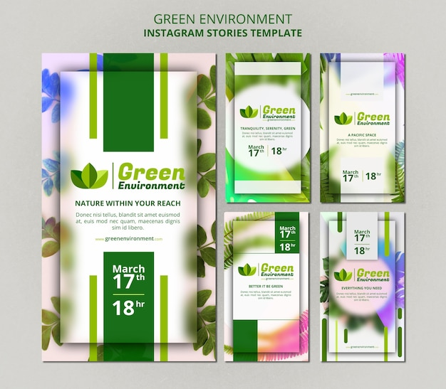 Raccolta di storie di instagram per l'ambiente verde