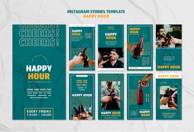 Raccolta di storie di instagram per l'happy hour