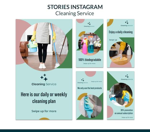 Raccolta di storie instagram per un'impresa di pulizie domestiche