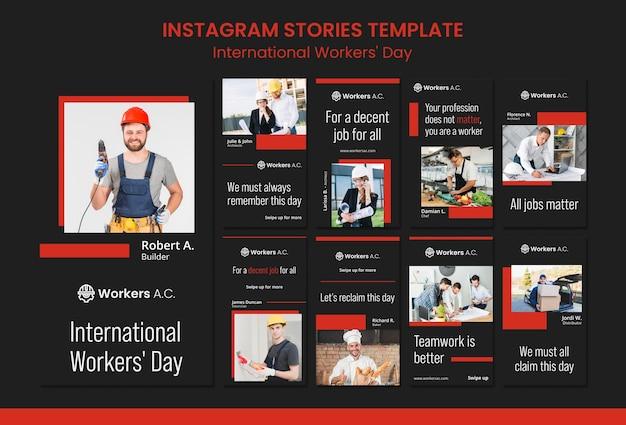 Raccolta di storie di instagram per la celebrazione del giorno dei lavoratori internazionali