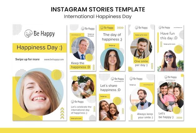 Raccolta di storie di instagram per la giornata internazionale della felicità