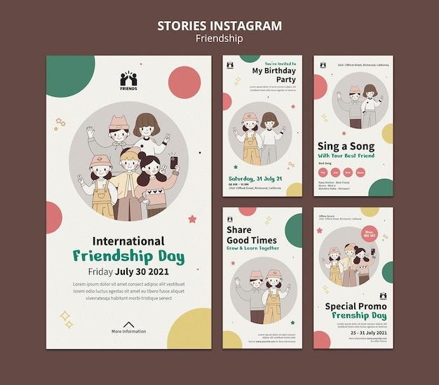 Raccolta di storie di instagram per la giornata internazionale dell'amicizia con gli amici