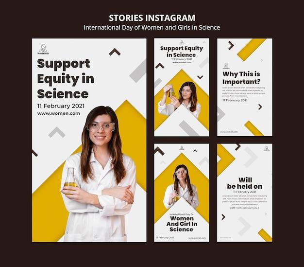 Raccolta di storie di instagram per donne e ragazze internazionali nel giorno della scienza
