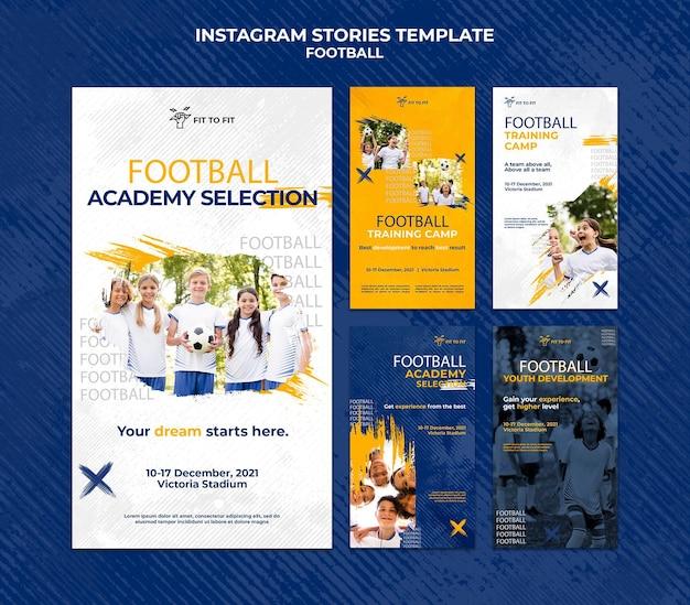 Raccolta di storie di instagram per l'allenamento di calcio per bambini Psd Premium