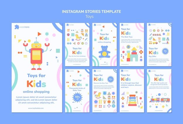 Raccolta di storie di instagram per lo shopping online di giocattoli per bambini
