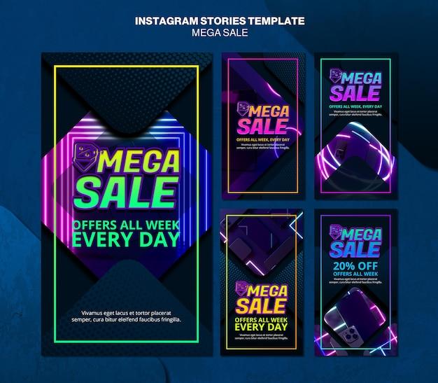 Raccolta di storie di instagram per una mega vendita