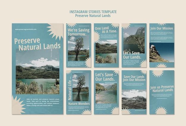 Raccolta di storie di instagram per la conservazione della natura con il paesaggio