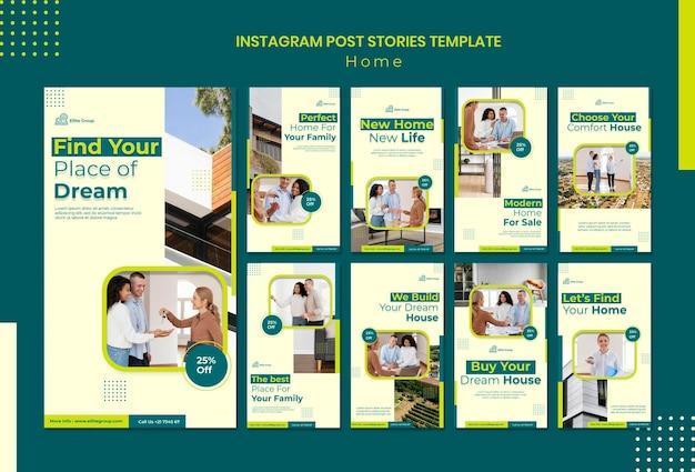 Raccolta di storie di instagram per la nuova casa di famiglia