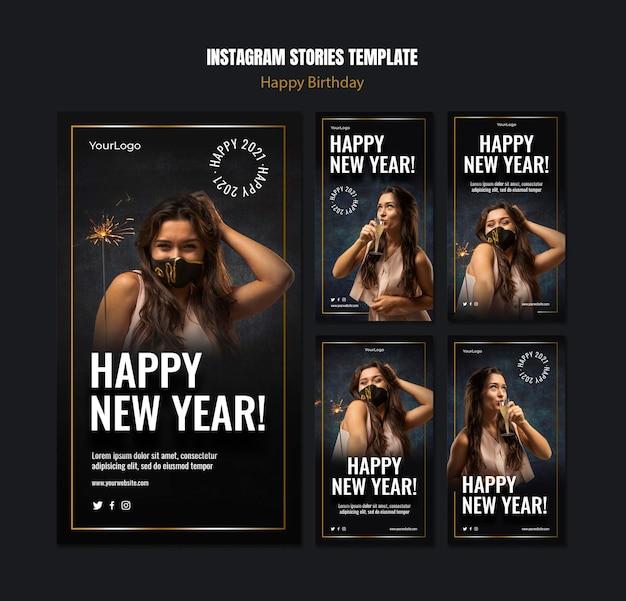 Raccolta di storie di instagram per la celebrazione del nuovo anno