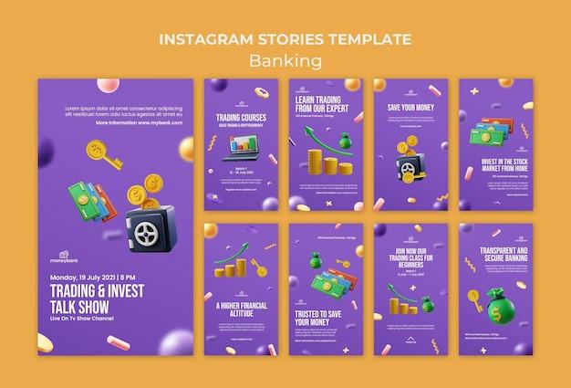 Raccolta di storie su instagram per servizi bancari e finanziari online